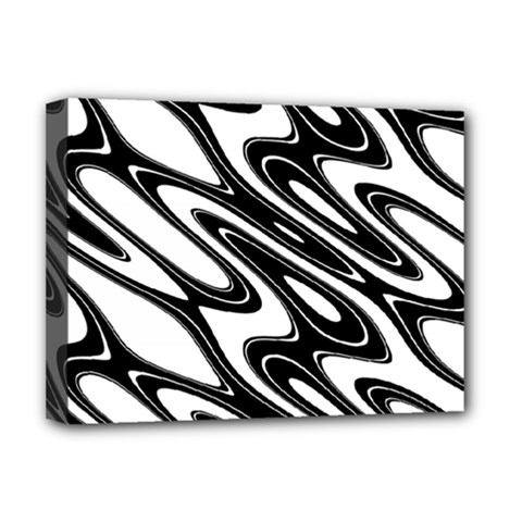 Black And White Wave Abstract Deluxe Canvas 16  X 12