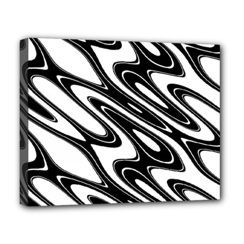 Black And White Wave Abstract Deluxe Canvas 20  X 16