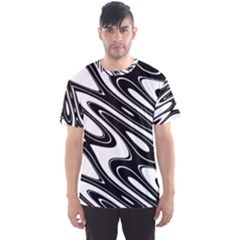 Black And White Wave Abstract Men s Sports Mesh Tee