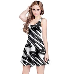 Black And White Wave Abstract Reversible Sleeveless Dress