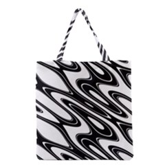Black And White Wave Abstract Grocery Tote Bag
