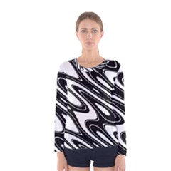 Black And White Wave Abstract Women s Long Sleeve Tee