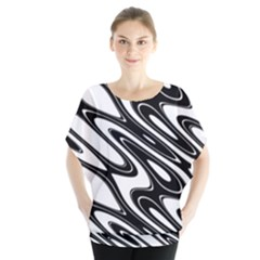 Black And White Wave Abstract Blouse