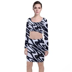 Black And White Wave Abstract Long Sleeve Crop Top & Bodycon Skirt Set