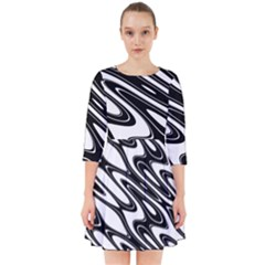Black And White Wave Abstract Smock Dress