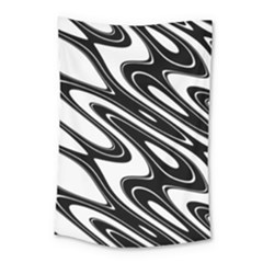 Black And White Wave Abstract Small Tapestry