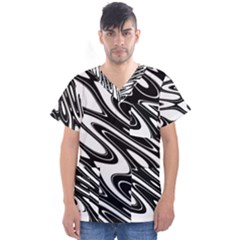 Black And White Wave Abstract Men s V Neck Scrub Top