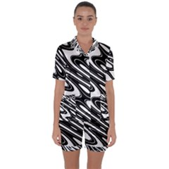 Black And White Wave Abstract Satin Short Sleeve Pyjamas Set