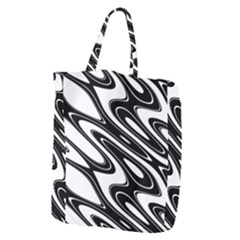 Black And White Wave Abstract Giant Grocery Zipper Tote