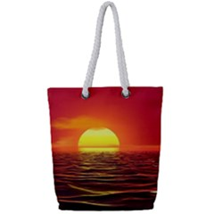 Sunset Ocean Nature Sea Landscape Full Print Rope Handle Tote (small)
