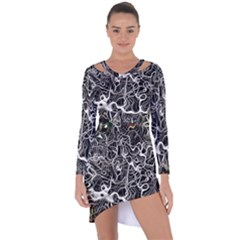 Abstract Pattern Backdrop Texture Asymmetric Cut Out Shift Dress