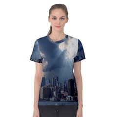New York America New York Skyline Women s Cotton Tee