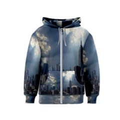 New York America New York Skyline Kids  Zipper Hoodie
