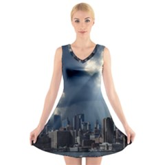 New York America New York Skyline V Neck Sleeveless Skater Dress