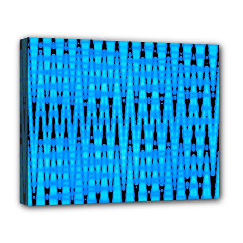 Sharp Blue And Black Wave Pattern Deluxe Canvas 20  X 16