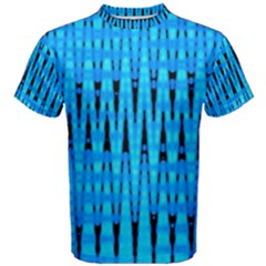 Sharp Blue And Black Wave Pattern Men s Cotton Tee