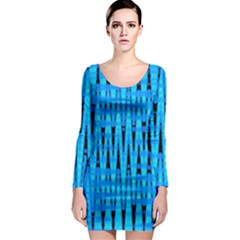 Sharp Blue And Black Wave Pattern Long Sleeve Bodycon Dress
