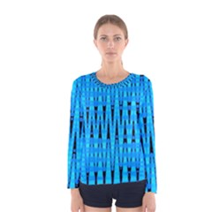 Sharp Blue And Black Wave Pattern Women s Long Sleeve Tee