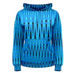 Sharp Blue And Black Wave Pattern Women s Pullover Hoodie