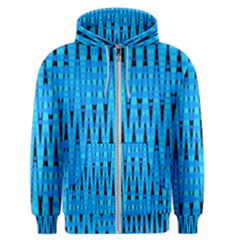 Sharp Blue And Black Wave Pattern Men s Zipper Hoodie