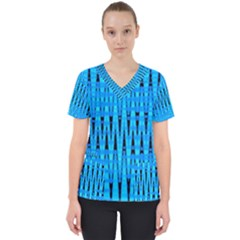 Sharp Blue And Black Wave Pattern Scrub Top