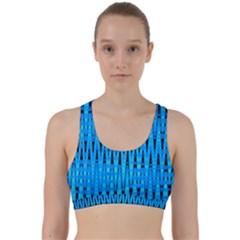 Sharp Blue And Black Wave Pattern Back Weave Sports Bra