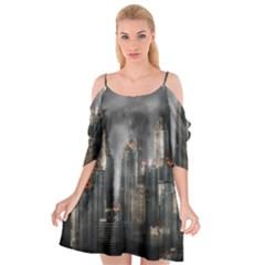 Armageddon Disaster Destruction War Cutout Spaghetti Strap Chiffon Dress