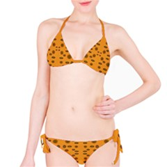Brown Circle Pattern On Yellow Bikini Set