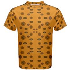 Brown Circle Pattern On Yellow Men s Cotton Tee
