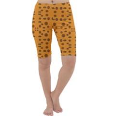 Brown Circle Pattern On Yellow Cropped Leggings