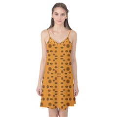 Brown Circle Pattern On Yellow Camis Nightgown