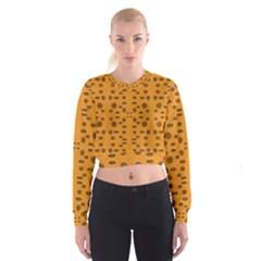 Brown Circle Pattern On Yellow Cropped Sweatshirt
