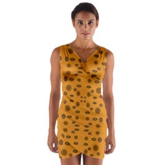 Brown Circle Pattern On Yellow Wrap Front Bodycon Dress