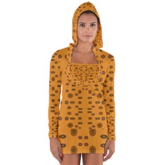 Brown Circle Pattern On Yellow Long Sleeve Hooded T Shirt