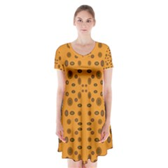 Brown Circle Pattern On Yellow Short Sleeve V Neck Flare Dress