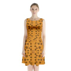 Brown Circle Pattern On Yellow Sleeveless Waist Tie Chiffon Dress