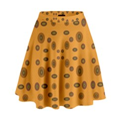 Brown Circle Pattern On Yellow High Waist Skirt