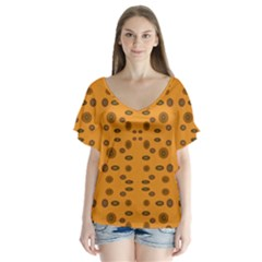 Brown Circle Pattern On Yellow V Neck Flutter Sleeve Top