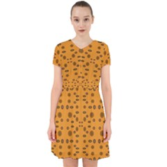 Brown Circle Pattern On Yellow Adorable In Chiffon Dress