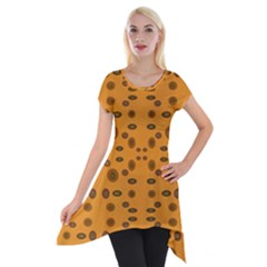 Brown Circle Pattern On Yellow Short Sleeve Side Drop Tunic