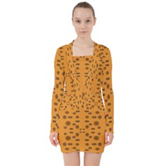 Brown Circle Pattern On Yellow V Neck Bodycon Long Sleeve Dress