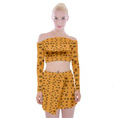 Brown Circle Pattern On Yellow Off Shoulder Top With Mini Skirt Set