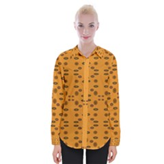 Brown Circle Pattern On Yellow Womens Long Sleeve Shirt