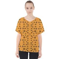 Brown Circle Pattern On Yellow V Neck Dolman Drape Top