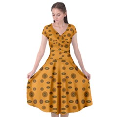 Brown Circle Pattern On Yellow Cap Sleeve Wrap Front Dress