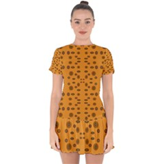 Brown Circle Pattern On Yellow Drop Hem Mini Chiffon Dress