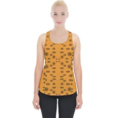Brown Circle Pattern On Yellow Piece Up Tank Top