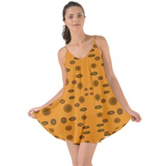 Brown Circle Pattern On Yellow Love The Sun Cover Up