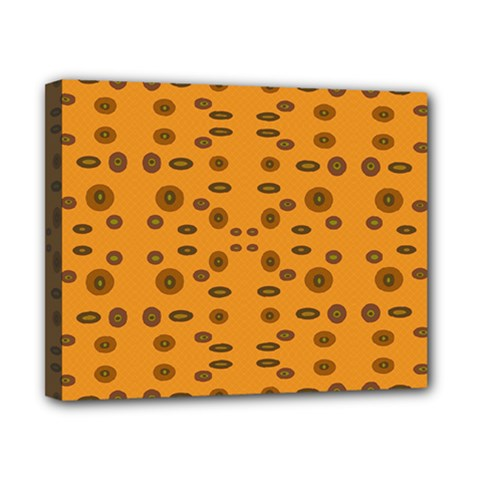 Brown Circle Pattern On Yellow Canvas 10  X 8