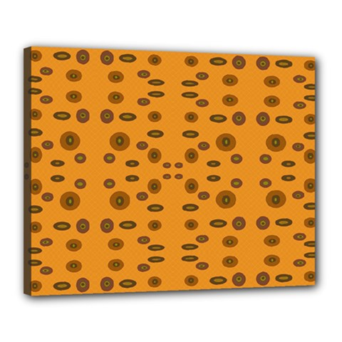 Brown Circle Pattern On Yellow Canvas 20  X 16